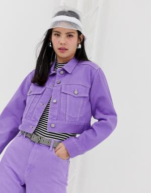Фиолетовая джинсовая короткая куртка от комплекта -Фиолетовый Monki