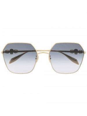 Hexagonal-frame sunglasses Alexander McQueen Eyewear. Цвет: золотистый