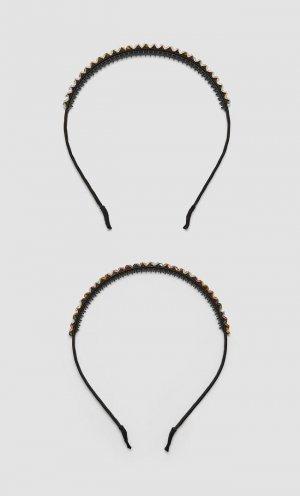 Набор Из 2 Обручей Со Стразами Женская Коллекция Серый 103 Stradivarius. Цвет: серый