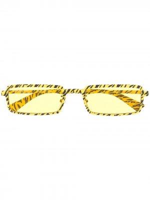 Zebra print rectangular-frame sunglasses Balenciaga Eyewear. Цвет: желтый