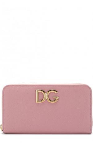 Кожаный кошелек на молнии Dolce & Gabbana. Цвет: розовый
