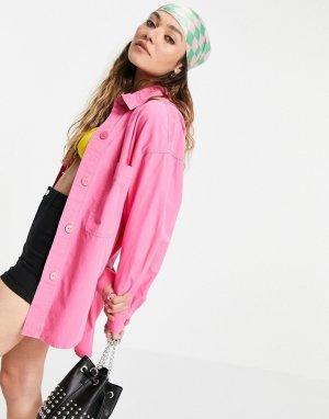 Розовая поплиновая oversized-рубашка -Розовый цвет Bershka