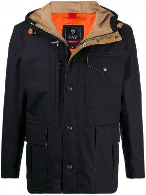 Куртка с капюшоном и карманами Fay. Цвет: синий