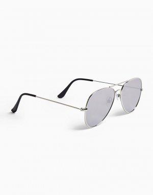 Солнцезащитные очки-авиаторы в серебристой оправе с зеркальными стеклами -Серебристый Topman