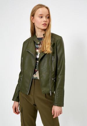 Куртка кожаная Koton. Цвет: хаки