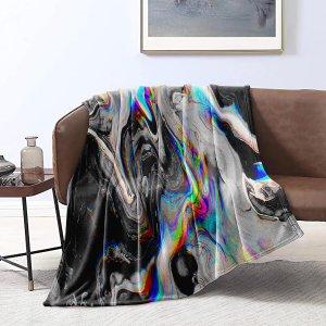 Одеяло с мраморным узором фланелевый SHEIN. Цвет: многоцветный