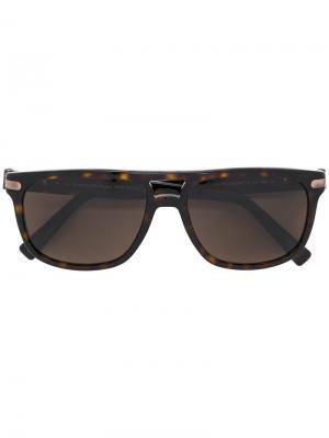 Солнцезащитные очки в черепаховой оправе Ermenegildo Zegna. Цвет: коричневый