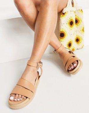 Бежевые кожаные сандалии с ремешками на щиколотках Erin-Бесцветный Vagabond