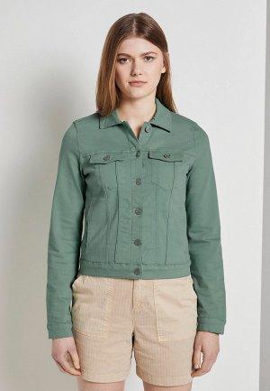 Куртка джинсовая Tom Tailor Denim. Цвет: зеленый