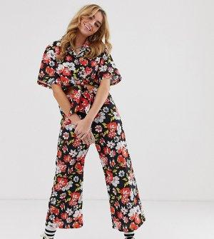 Укороченные брюки клеш с цветочным принтом Vintage-Черный Milk It