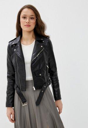 Куртка кожаная Euros Style. Цвет: черный