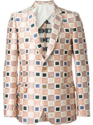 Блейзер с жаккардовым квадратным узором Walter Van Beirendonck. Цвет: розовый и фиолетовый