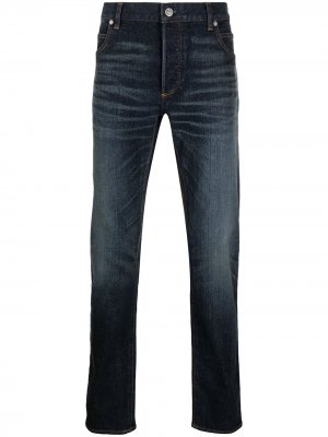 Зауженные джинсы с вышитым логотипом Balmain. Цвет: черный