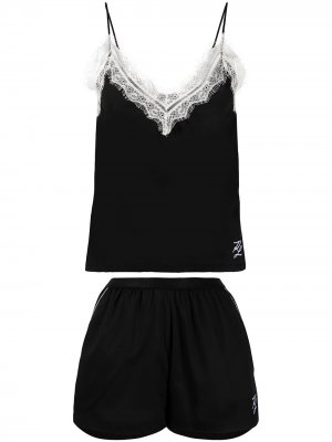 Пижама с кружевом Karl Lagerfeld. Цвет: черный