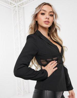 Черный приталенный пиджак с сетчатыми вставками Club L London