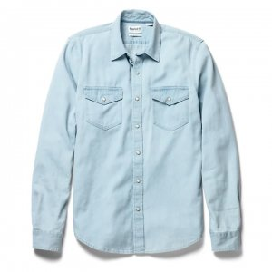Рубашки LS Mumford River Denim Shirt Slim Timberland. Цвет: голубой