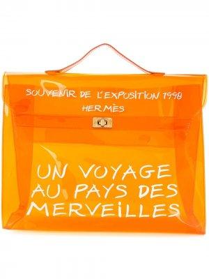 Сумка прозрачная с принтом pre-owned Hermès. Цвет: оранжевый