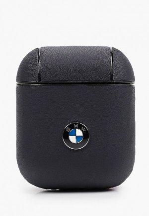 Чехол для наушников BMW Airpods, Signature leather with metal logo Blue. Цвет: синий