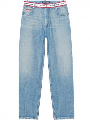 Прямые джинсы с логотипом Balenciaga. Цвет: синий