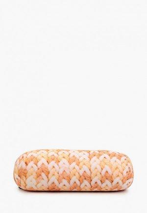 Подушка декоративная Gekoko Вязаная оранжевая. Цвет: разноцветный