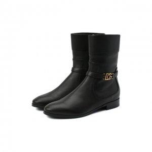 Кожаные полусапоги Dolce & Gabbana. Цвет: чёрный