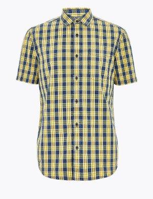 Рубашка в клетку из чистого хлопка с коротким рукавом M&S Collection. Цвет: желтый микс