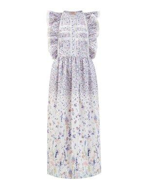 Хлопковое платье с принтом и кружевной отделкой ERMANNO SCERVINO. Цвет: белый