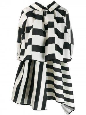 Пышное платье мини с контрастными полосками Dice Kayek. Цвет: белый