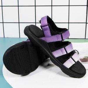 Спортивные сандалии с узором омбре на липучке SHEIN. Цвет: пурпурный