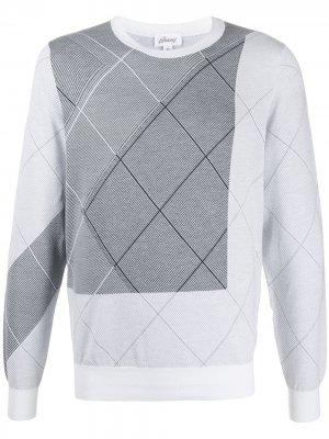 Пуловер с геометричным узором Brioni. Цвет: белый