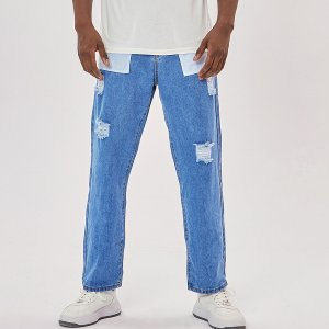 Мужской Зауженные джинсы заплатка рваный SHEIN. Цвет: синий цвет средней стирки