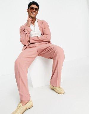 Пастельно-розовые классические брюки из мягкого крепа с широкими штанинами -Розовый цвет ASOS DESIGN