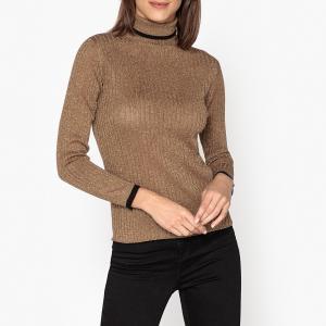 Пуловер с воротником из тонкого трикотажа EUGENIE SOEUR. Цвет: золотистый