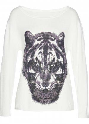 Пуловер с анималистичным принтом bonprix. Цвет: белый