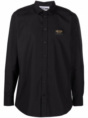 Рубашка с длинными рукавами и логотипом Moschino. Цвет: черный
