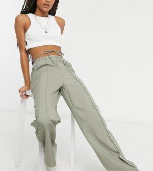 Прямые брюки серо-коричневого цвета в тонкую полоску с завязками COLLUSION-Серый Collusion