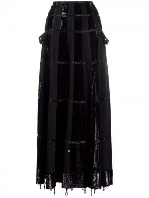 Юбка макси 2000-х годов А-силуэта со вставками Christian Dior. Цвет: черный