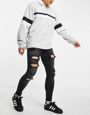 Черные выбеленные супероблегающие джинсы из плотного эластичного денима со рваной отделкой -Черный цвет ASOS DESIGN