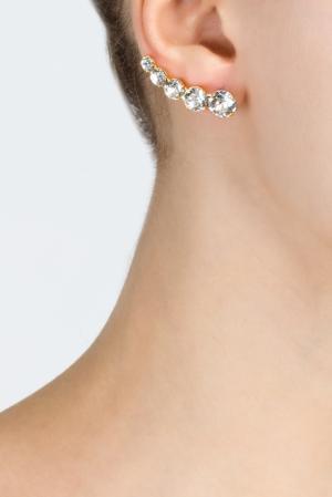 Серьги-каффы с кристаллами Ca&Lou. Цвет: белый