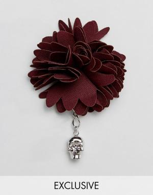 Бордовая булавка на лацкан Noose & Monkey. Цвет: красный