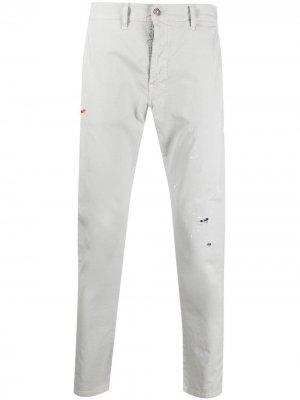 Узкие брюки средней посадки Grey Daniele Alessandrini. Цвет: серый
