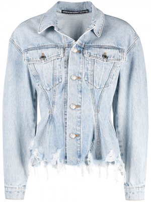 Джинсовая куртка с эффектом потертости Alexander Wang. Цвет: синий