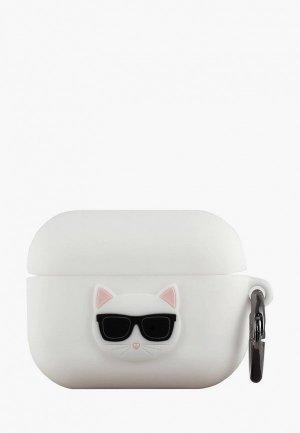 Чехол для наушников Karl Lagerfeld Airpods Pro, Silicone case with ring Choupette White. Цвет: белый