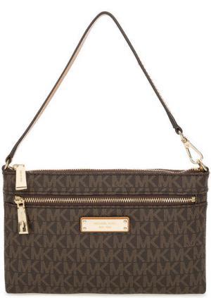 Маленькая сумка с монограммой бренда Wristlets MICHAEL Kors. Цвет: коричневый