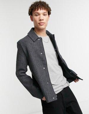 Шерстяной пиджак с узором «в елочку» -Черный цвет Lyle & Scott