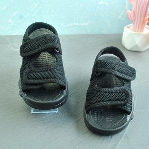 Минималистичные спортивные сандалии на липучке для мальчиков SHEIN. Цвет: чёрный