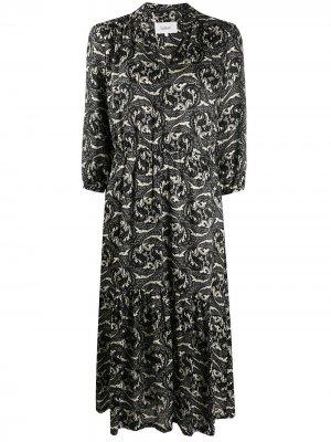Платье миди с принтом пейсли Ba&Sh. Цвет: черный