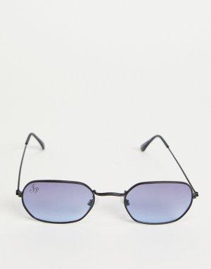 Черные солнцезащитные очки в стиле унисекс овальной формы с синими стеклами -Черный Jeepers Peepers