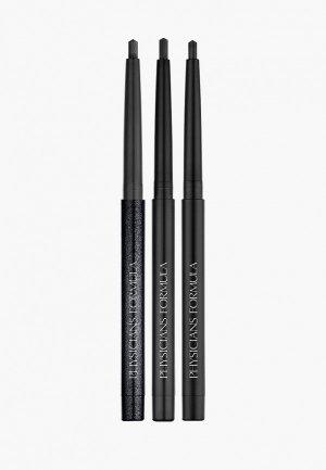 Набор для макияжа глаз Physicians Formula Карандаши век водостойкие Gel Eyeliner Trio, тон: черный матовый, сатиновый, мерцающий. Цвет: черный