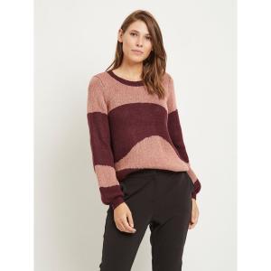 Пуловер с круглым вырезом из тонкого трикотажа VILA. Цвет: розовый/бордовый